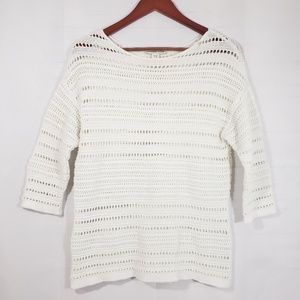Coldwater Creek 3/4 Sleeve Open Knit Sweater S